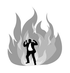 angry silhouette businessman on fire vector image