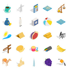 Arabic icons set isometric style vector