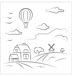 balloon over the country vector image