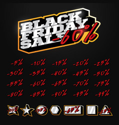 black friday sale tag builder kit typography in vector image