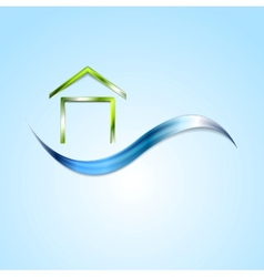 Bright house logo and wave design vector image