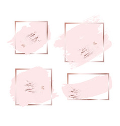 brush strokes in rose gold pink tones and golden vector image