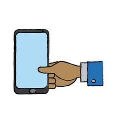 Businessman hand holding smartphone app vector