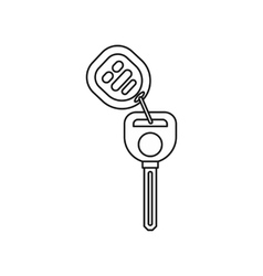 Car alarm and key icon outline style vector