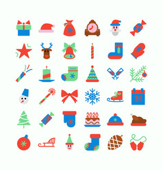 christmas icon set cute color style vector image