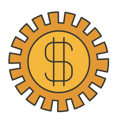 colorful silhouette of pinion with money symbol vector image