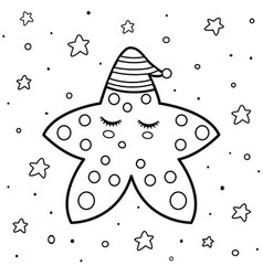 Coloring page with a cute sleeping star good vector