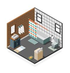 Combination bathroom isometric interior vector