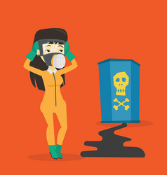 Concerned woman in radiation protective suit vector