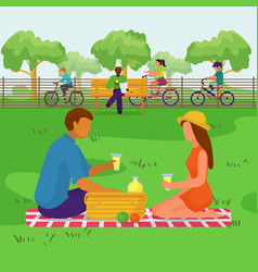 Couple in park happy people at picnic vector