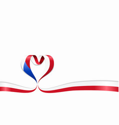 Czech flag heart-shaped ribbon vector