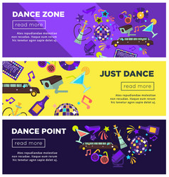 dance zone promotional bright internet posters vector image