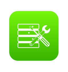 database with screwdriverl and spanner icon vector image