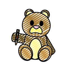 Doodle bear teddy cute toy with crayon vector
