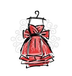 Dress on hangers sketch for your design vector