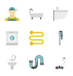 Equipment for bathroom icons set flat style vector image