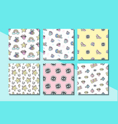 fashionable patches seamless patterns set vector image