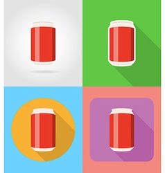 fast food flat icons 05 vector image