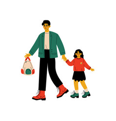 Father leading his daughter to school cute girl vector