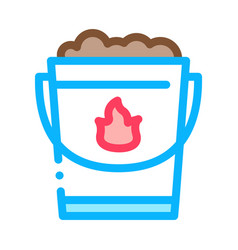 fire bucket with sand icon outline vector image