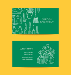gardening doodle icons business card vector image