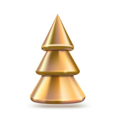 golden christmas tree metallic pine vector image