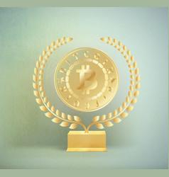 Golden realistic money coin bitcoin on gilded vector