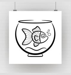 goldfish in aquarium silhouette on brick wall vector image