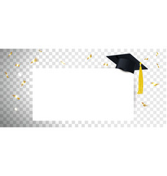 graduate cap and diploma on transparent background vector image