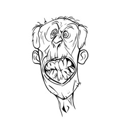 Graphic drawing of an angry old man vector