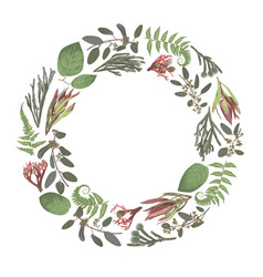 Green wreath frame flowers and leavesbranches vector