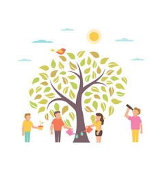 Grow with tree people growing plant vector