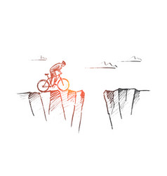 hand drawn cyclist ready to risk and jump over gap vector image
