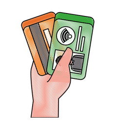 hand holding credit card and id card payment vector image