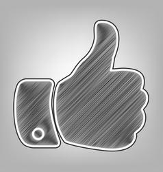 hand sign pencil sketch vector image