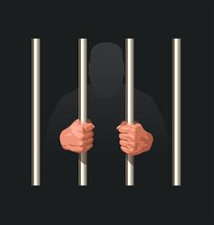 Hands prisoner holding metal jail bars vector