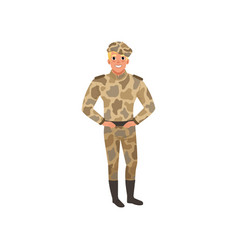 Handsome man in camouflage uniform commander of vector