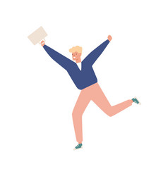 happy casual teen carrying briefcase running vector image