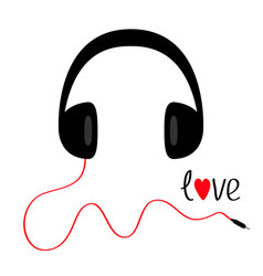 headphones with red cord and word love black vector image