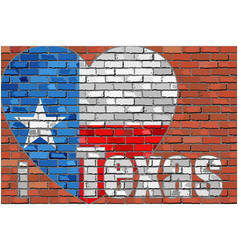 i love texas message on a brick wall vector image vector image