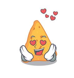 In love nachos mascot cartoon style vector