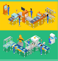 isometric 3d production line concept set vector image