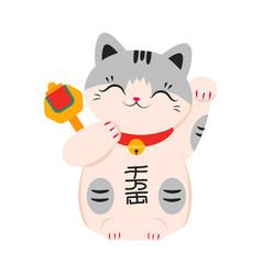 Japanese maneki neko symbol good luck and vector
