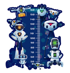 Kids height chart robots and droids growth meter vector