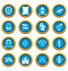 knight medieval icons blue circle set vector image