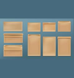 Kraft envelopes blank brown covers template set vector