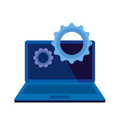 Laptop computer device with gears settings vector