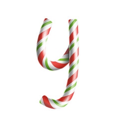Letter y 3d realistic candy cane alphabet vector