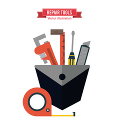 meter wrench ruler screwdriver icon vector image