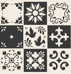 Mexican talavera pattern ceramic tiles in vector